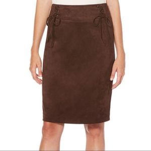 Laundry By Shelli Segal Lace-Up Faux Suede Skirt